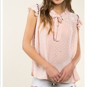 Pink embroidered lace polkadot Bow Top
